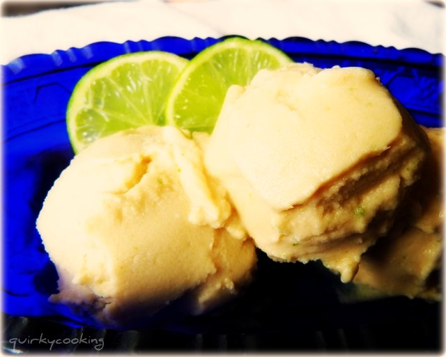 Vanilla Coconut Pine Lime Sorbet - Quirky Cooking