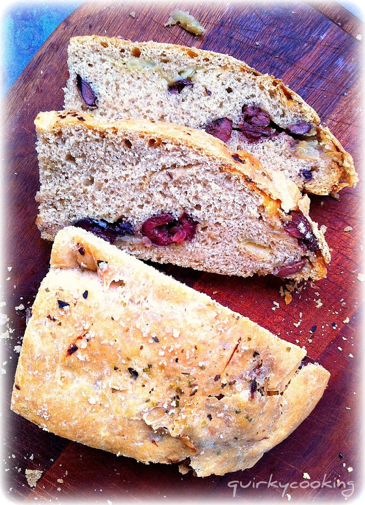 Caramelized Onion & Olive Spelt Bread - Quirky Cooking