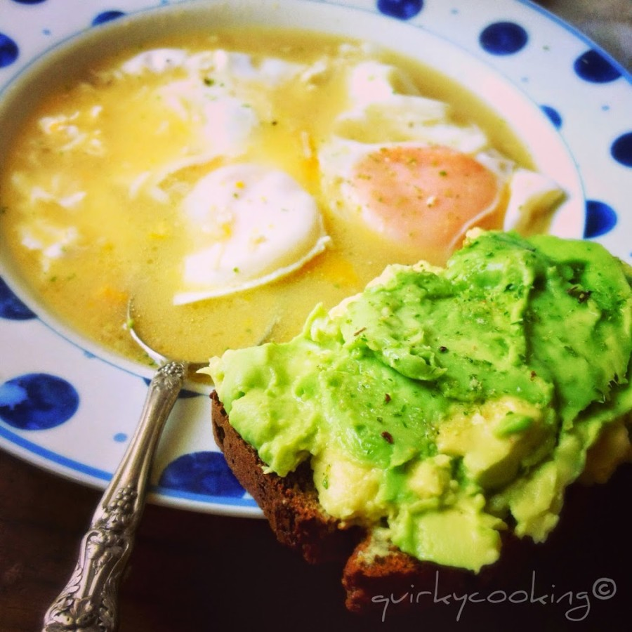 Eggs poached in broth, Quirky Cooking
