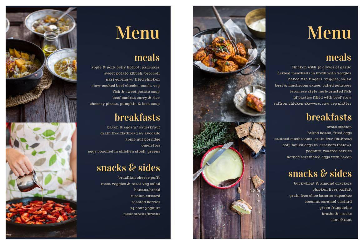 Quirky Cooking menus and meal plans