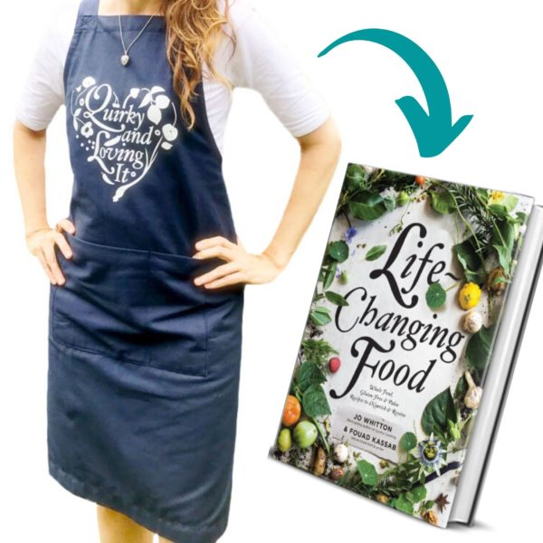 Quirky Cooking Apron + Life-Changing Food Cookbook